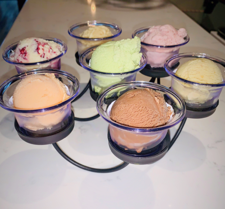 A flight of seven ice cream flavors at Graley's Creamery & Confections in Papillion, Nebraska