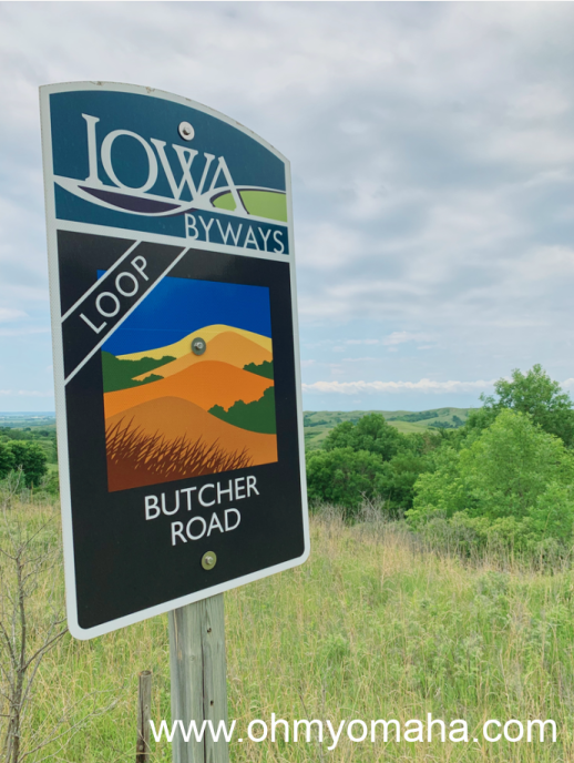 A sign for the Butcher Road Loop drive along the Loess Hills Scenic National Byway