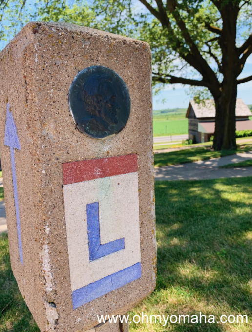 A marker for the Lincoln Highway located in Missouri Valley, Iowa