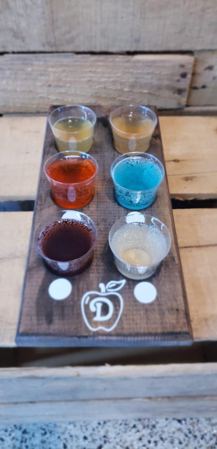 A cider flight at Ditmars Orchard & Vineyard in Council Bluffs, Iowa