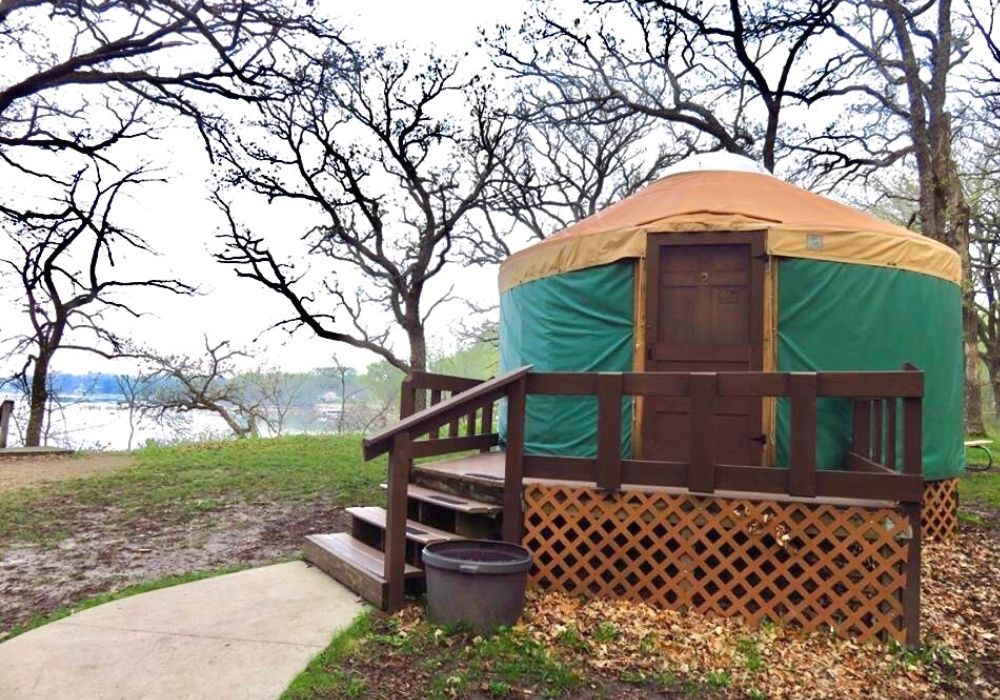 Exterior of a yurt at McIntosh Woods State Park