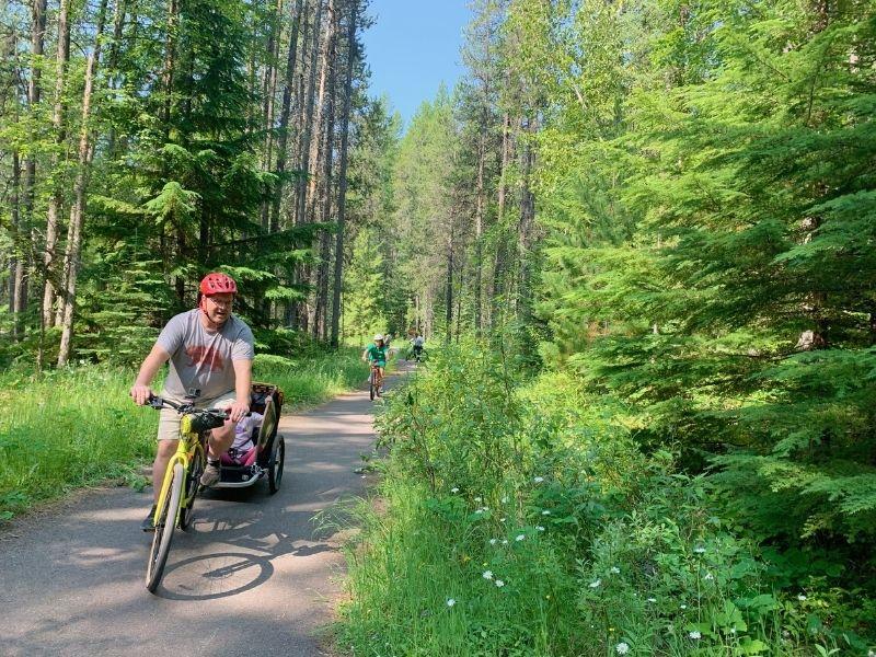 Bike riding near Apgar in Glacier National Park.