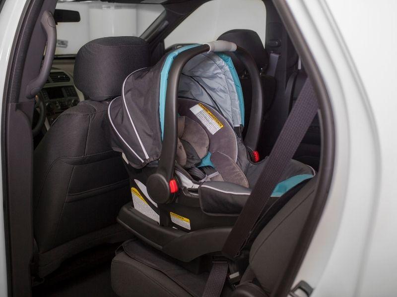 A rear-facing car seat