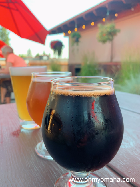 Beers on the patio at Backslope Brewing Co. in Columbia Falls.