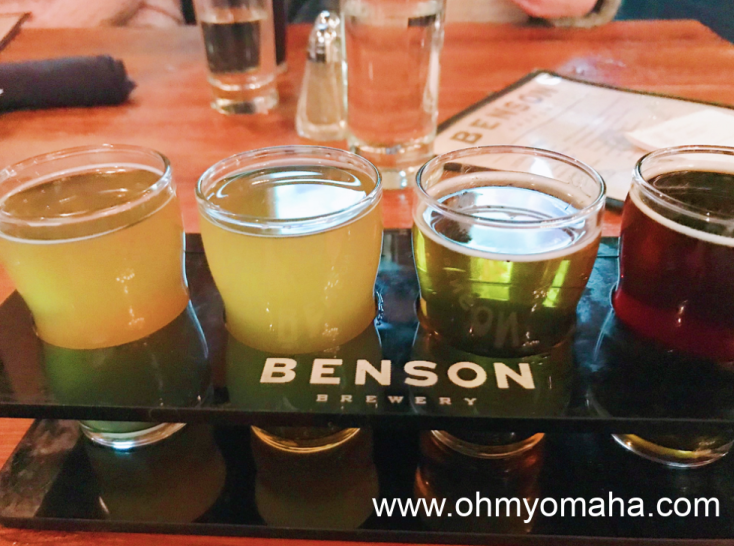 A flight of beer at Benson Brewery