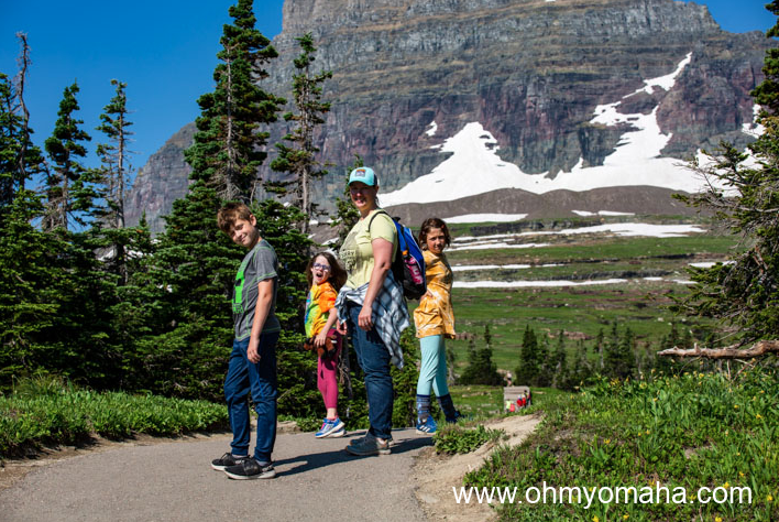 Kim and the kids at the start of the hike to the Hidden lake Overlook Trail.
