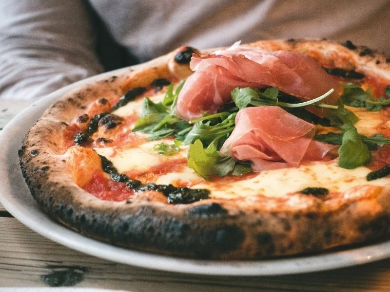 Neapolitan pizza fresh out of the oven
