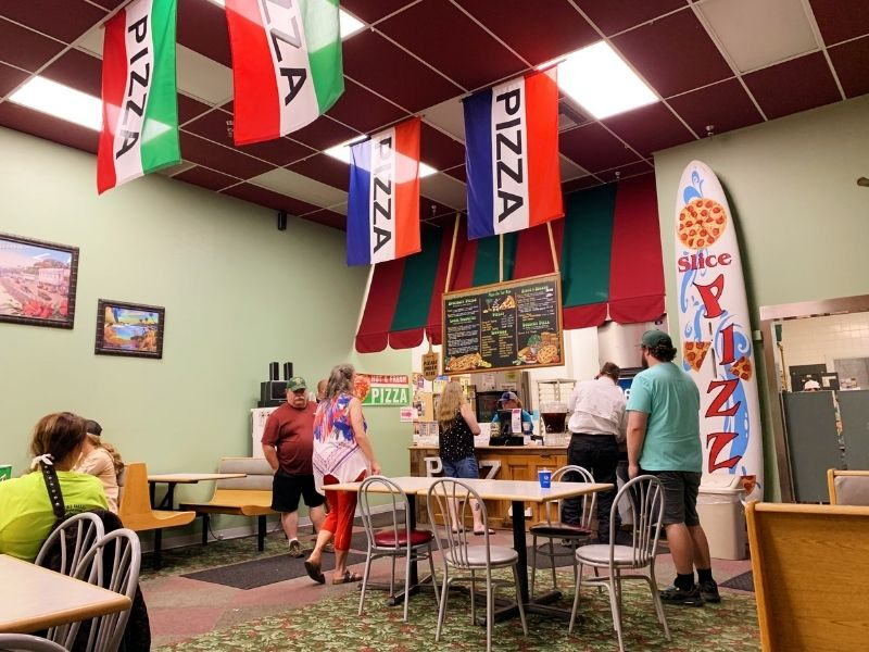 Interior of Pizza on the Run located on Sheridan Avenue in Cody, Wyoming