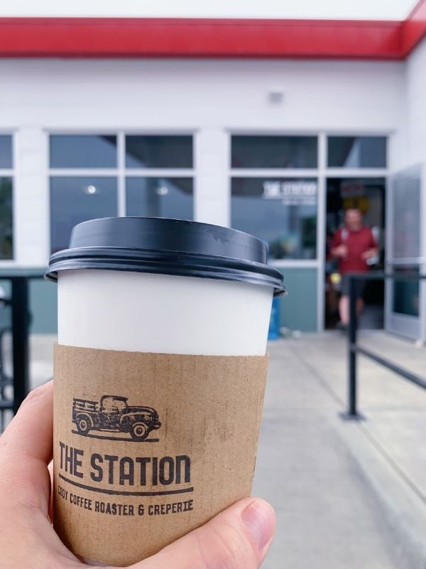 A cup of to-go coffee at The Station in Cody, Wyoming